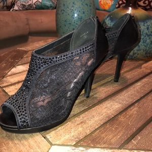 Gorgeous see through black fabric heels.